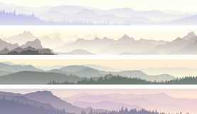 Vector banners of misty forest hills. Set vector horizontal banners of morning misty coniferous forest hills Stock Photo