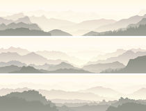 Vector banners of misty mountain range. Set vector horizontal banners of mountain range with coniferous forest hills Stock Image