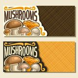 Vector banners for Mushrooms. With copy space, cards with edible honey agaric, wild porcini mushroom, forest chanterelle, shiitake & fresh champignon, set of Stock Photos