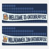 Vector banners for Oktoberfest. With copy space, invite with bavarian pretzel, glassware with alcoholic beverages, tickets for german beer festival with Royalty Free Stock Image