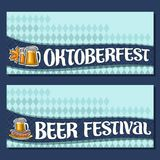 Vector banners for Oktoberfest. With copy space, invite with maple leaf and sausages, glassware with alcoholic beverages, tickets for beer festival with Stock Images