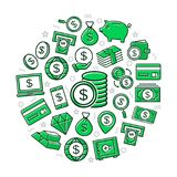 Vector money colored icons in circle design concept. Illustration for presentations on white background Stock Photo