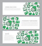 Set of three digital money and bank horizontal banners with icon pattern. Vector illustration. Vector banners and pattern, background design template Royalty Free Stock Photography