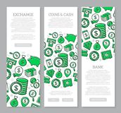 Set of three digital money and bank vertical banners with icon pattern. Vector illustration. Vector banners and pattern, background design template Royalty Free Stock Photos