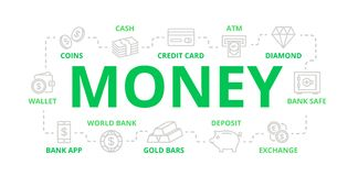 Vector money and bank thin line banner for design concept. Illustration for presentations on white background Royalty Free Stock Images