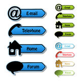 vector banners - phone, email, home, forum Stock Photos