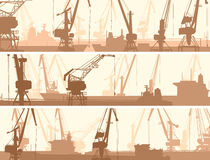Vector banners of port with cargo crane tower. Stock Images