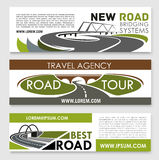 Vector banners of road construction and travel Royalty Free Stock Photo
