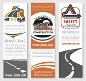 Vector banners of road safety construction company Royalty Free Stock Photos