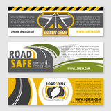 Vector banners of safety road construction company Stock Photos