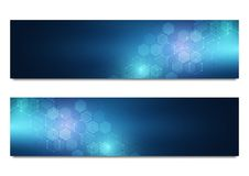Vector banners for science and digital technology. Geometric abstract background with hexagons design. Molecular structure and che. Mical compounds royalty free illustration