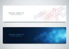 Vector banners for science and digital technology. Geometric abstract background with hexagons design. Molecular. Structure and chemical compounds vector illustration