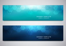 Vector banners for science and digital technology. Geometric abstract background with hexagons design. Molecular. Structure and chemical compounds stock illustration