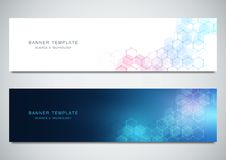 Vector banners for science and digital technology. Geometric abstract background with hexagons design. Molecular. Structure and chemical compounds royalty free illustration