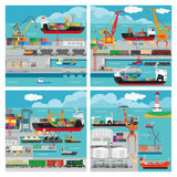 Vector banners with sea transport Stock Photo
