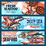Vector banners seafood market or fish restaurant Stock Photo