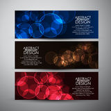 Vector banners set with Abstract Circle bokeh background. Stock Photos
