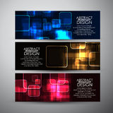 Vector banners set with Abstract square bokeh background. Stock Photography