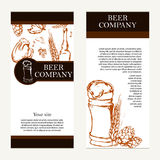 Vector banners set of beer company. Retro card or flyer. Restaur Stock Photo