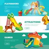 Vector banners set of children playground. Stock Photos