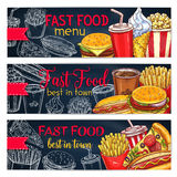 Vector banners set for fast food restaurant menu Royalty Free Stock Photography