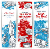 Vector banners set of fresh seafood and fish food Stock Photography