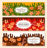 Vector banners set of gingerbread cookies bakery Royalty Free Stock Image