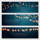 Vector banners set. Glowing light bulbs design. Vector banners set. Website header template Royalty Free Stock Photography