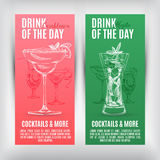 Vector banners set  with hand drawn cocktails Royalty Free Stock Image