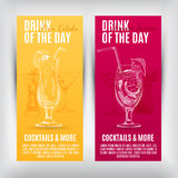 Vector banners set  with hand drawn cocktails Royalty Free Stock Images