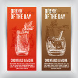 Vector banners set  with hand drawn cocktails Stock Images