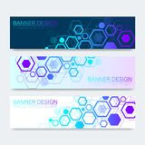 Vector banners set with hexagons background. Hi-tech digital technology and engineering background. Digital telecom. Technology concept. Vector abstract stock illustration