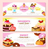 Vector banners set for homemade bakery desserts Stock Photography