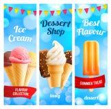 Vector banners set for ice cream dessert shop. Ice cream dessert shop banners for gelateria cafe menu template. Vector set of sweet fresh frozen ice in scoops Stock Photos