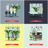 Vector banners set with patients, doctors and hospital interiors. Health care medicine concept. Vector banners set with patients, doctors and hospital interiors vector illustration