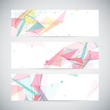 Vector banners set with polygonal abstract shapes Royalty Free Stock Images