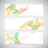 Vector banners set with polygonal abstract shapes Stock Photos