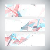 Vector banners set with polygonal abstract shapes Stock Images