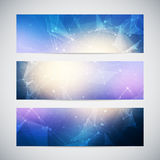 Vector banners set with polygonal abstract shapes Royalty Free Stock Photo
