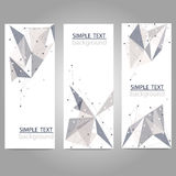 Vector banners set with polygonal abstract shapes with triangles Stock Image