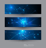 Vector banners set with polygonal, geometric, lines, Triangle pattern shape Royalty Free Stock Images