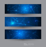 Vector banners set with polygonal, geometric, lines, Triangle pattern shape Stock Images