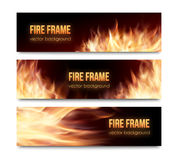 Vector banners set with realistic fire flames. Realistic burning hot fire campfire  advertisement banners set. Vector illustration. Fire flame strokes Stock Image