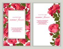 Vector banners set with roses flowers. Template for greeting cards, wedding decorations, invitation ,sales. Spring or summer design. Place for text vector illustration