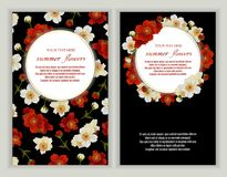 Vector banners set with roses flowers. Template for greeting cards, wedding decorations, invitation ,sales. Spring or summer design. Place for text stock illustration