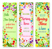 Vector banners set for spring time greetings Stock Images