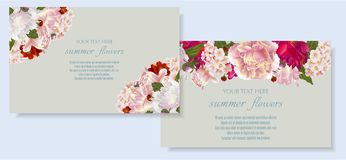 Vector banners set with summer flowers. Template for greeting cards, wedding decorations, invitation ,sales. Spring or summer design. Place for text Royalty Free Stock Photo