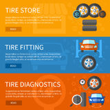 Vector banners set of tire service Stock Image
