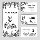 Vector banners set of wine company. Restaurant theme. Template for wine menu. Hand drawn design for poster or card Royalty Free Stock Image