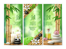 Vector banners for spa treatments with aromatic salt , massage oil, candles. Stock Image